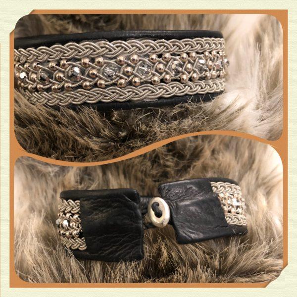 Armband tenntråd swarovskipärlor tennknapp smycke på renskinn