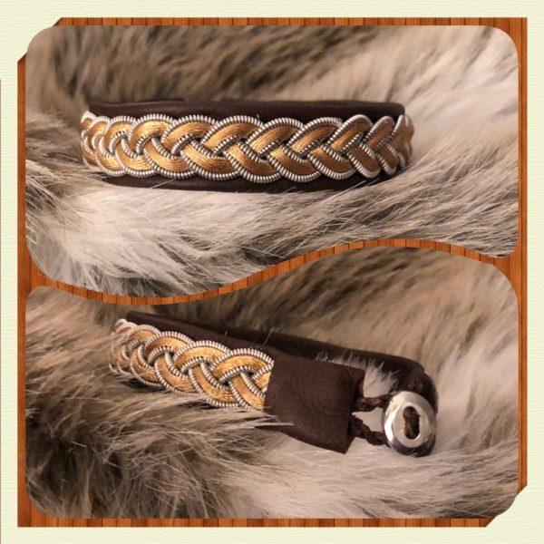 Februari månads armband med tenntråd och skinn